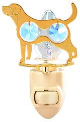 Gold Plated Dog (Labrador Retriever) Night Light w/Blue Swarovski Element Crystal