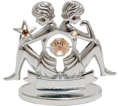 Chrome Plated Zodiac (Gemini) on Stand with Swarovski Element Crystal