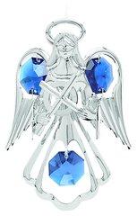 Chrome Plated Small Angel w/Cross Ornament w/Swarovski Element Crystals