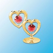 Twin Hearts on stand w/Red Swarovski Element Crystal