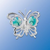 Chrome Plated Butterfly Ornament w/Green Swarovski Element Crystal