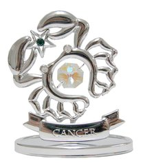 Chrome Plated Zodiac (Cancer) on Stand with Swarovski Element Crystal