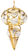 Gold Plated Icicle Ornament w/Clear Swarovski Element Crystal