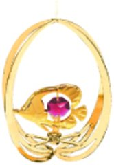 Gold Plated Fish in Ellipse Ornament w/Red Swarovski Element Crystal