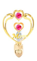 """Happy Mother's Day - """"Mom"""" in Heart Night Light with Swarovski Element Crystals"""