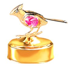Gold Plated Cardinal Music Box w/ Swarovski Element Crystal