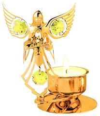 Gold Plated Angel w/Flowers T-Lite w/Swarovski Element Crystal