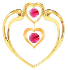 Gold Plated Heart in Heart Sun Catcher (Magnet) w/Red Swarovski Element Crystal