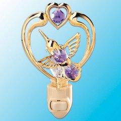 Hummingbird in Heart Night Light w/Swarovski Element Crystal