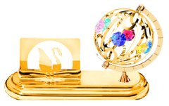 Gold Plated Spinning Globe Card Holder w/Swarovski Element Crystal