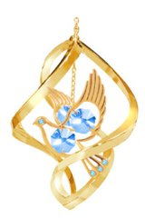 Gold Plated Dove Spiral Ornament w/Blue Swarovski Element Crystals