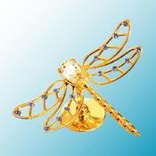 Gold Plated Dragonfly on Stand w/Clear Swarovski Element Crystal