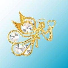 Gold Plated Flying Angel w/Heart Ornament w/Swarovski Element Crystals