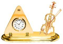 Gold Plated Violin Desk Clock w/Clear Swarovski Element Crystal