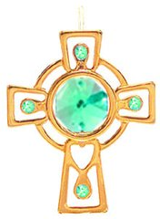 Gold Plated Celtic Cross Ornament w/Green Swarovski Element Crystal