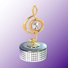 Treble Clef Mirror Base Music Box w/Swarovski Element Crystal