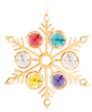 Gold Plated Large Snowflake Ornament w/Mixed Swarovski Element Crystal