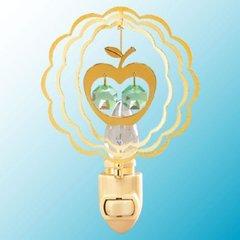 Gold Plated Twin Apple Night Light w/Swarovski Element Crystal