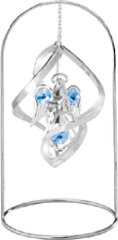 "Chrome Plated Angel w/Star Spiral w/ 8"" Arch Stand Ornament w/Blue Swarovski Element Crystal"