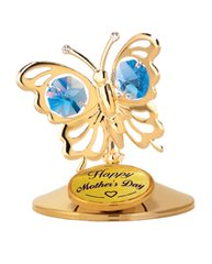 Happy Mother's Day - Butterfly on Stand w/Blue Swarovski Element Crystal