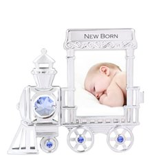 Chrome Plated Train Mini Picture Frame w/Swarovski Element Crystal