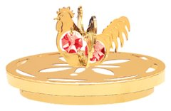 Gold Plated Rooster Twins Candle Catcher w/2 Swarovski Element Crystal