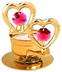 "Twin Hearts w/""Love"" T-Lite Holder w/Red Swarovski Element Crystal"