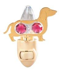 Gold Plated Dog (Dachshund) Night Light w/Red Swarovski Element Crystal