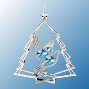 Chrome Plated Dove in Tree Ornament w/Blue Swarovski Element Crystal