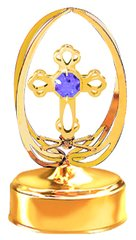 Gold Plated Cross in Ellipse Music Box w/ Swarovski Element Crystal