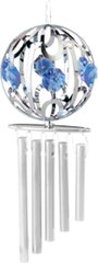 Chrome Plated Crystal Ball Wind Chime w/Blue Swarovski Element Crystal