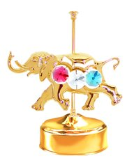 Gold Plated Carousel Elephant Music Box w/Mixed Swarovski Element Crystal