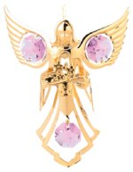 Gold Plated Angel w/Flowers Ornament w/Pink Swarovski Element Crystal
