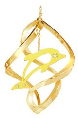 Gold Plated Dolphin Spiral Ornament w/Swarovski Element Crystals