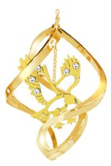 Gold Plated Eagle Spiral Ornament w/Swarovski Element Crystals