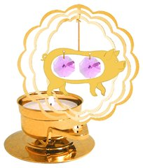 Gold Plated Pig T-Lite w/Swarovski Element Crystal