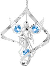 Chrome Plated Angel w/Star Spiral Ornament w/Blue Swarovski Element Crystal