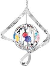 Chrome Plated Ball Spiral Ornament w/Mixed Swarovski Element Crystal