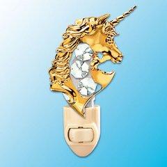 Gold Plated Unicom Night Light w/ Swarovski Element Crystal