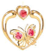 Gold Plated Butterfly in Heart Ornament w/Red Swarovski Element Crystal