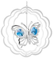 Chrome Plated Butterfly in Circle Ornament w/Blue Swarovski Element Crystal