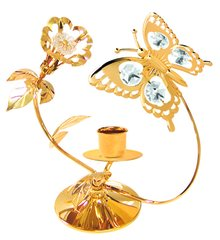 Gold Plated Butterfly/Flower Deluxe Tapered Candle Holder w/Swarovski Element Crystal