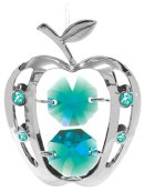 Chrome Plated Apple Ornament w/Green Swarovski Element Crystal