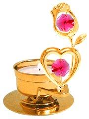 Rose w/Heart T-Lite w/Red Swarovski Element Crystal