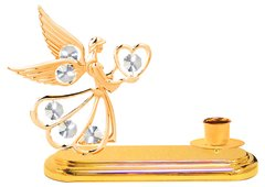 Gold Plated Angel w/Heart Deluxe Tapered Candle Holder w/Swarovski Element Crystal