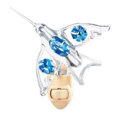 Chrome Plated Hummingbird Night Light w/Blue Swarovski Element Crystal