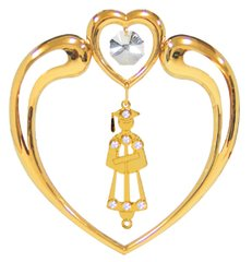 Gold Plated Graduation Icon in Heart Sun Catcher w/Swarovski Element Crystal