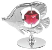 Fish on Stand w/Red Swarovski Element Crystal