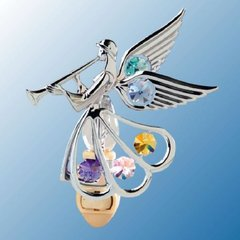 Chrome Plated Angel w/Trumpet Night Light w/Swarovski Element Crystal