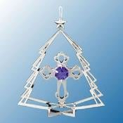 Chrome Plated Cross in Tree Ornament w/Purple Swarovski Element Crystal